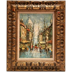 "Midcentury Original Oil on Canvas Painting ""Paris Market"" by A. Delman"