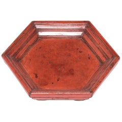 Early 20th Century Chinese Cinnabar Honeycomb Tray