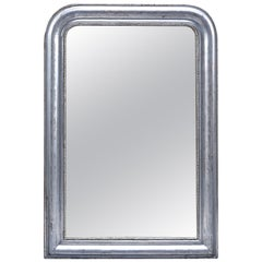Louis Philippe Style Silver Leaf Mirror with Beaded Trim and Leaf Pattern