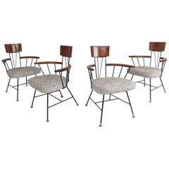 Set of Four Vintage Modern Wrought Iron Frame Dining Chairs by Paul McCobb