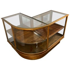 Early 20th Century Curved Corner Oak Two-Tier Display Cabinet