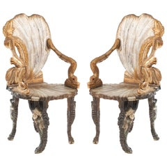 Pair of Italian Venetian Grotto Shell Form Armchairs