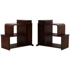 Art Deco Pair of Tiered Walnut Side End Tables Shelves Desky Rohde Frankl Era