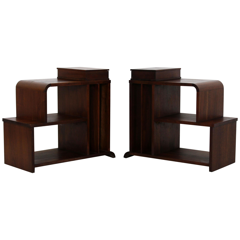 Bon Art Deco Pair Of Tiered Walnut Side End Tables Shelves Desky Rohde Frankl  Era
