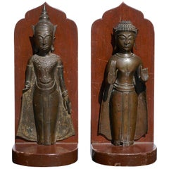 18th Century Ayutthaya Thai Bronze Buddha Bookends