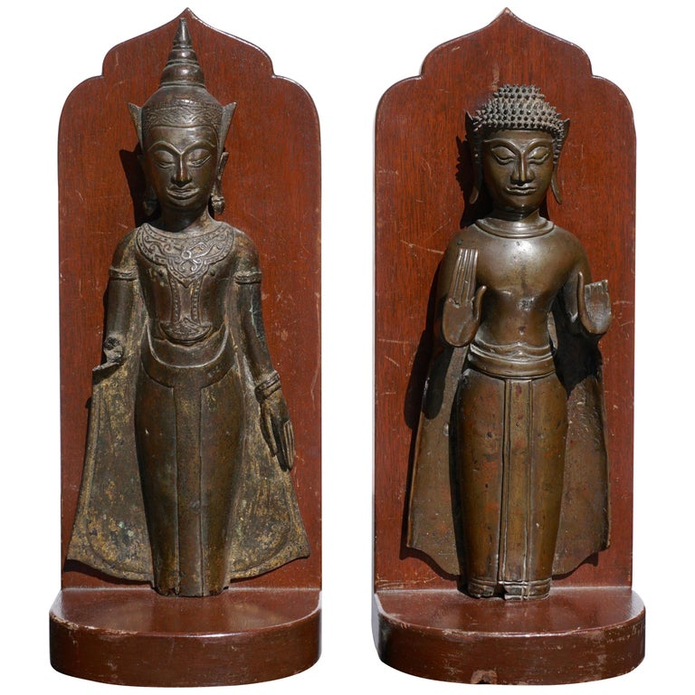 18th Century Ayutthaya Thai Bronze Buddha Bookends For Sale