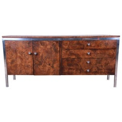 Tomlinson Mid-Century Modern Burl Wood and Chrome Sideboard Credenza, 1970s