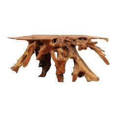 Polished Teak Root Wood Console