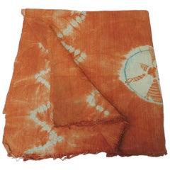 Vintage Orange African Tie-Dyed Reversible Yoruba Artisanal Cloth