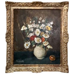 Antique Framed Floral Still Life Oil Painting on Board by Emile Lambrechts