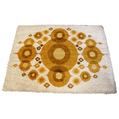 Mid-Century Modern Rya Rectangular Area Rug Carpet Orange Circles 1960s Denmark