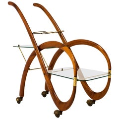Walnut Mid-Century Modern Italian Bar Cart by Gaetano Pizzi, 1950s