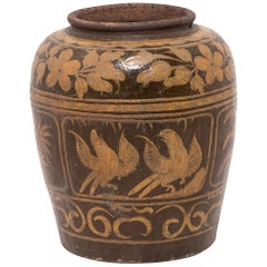Early 20th Century Chinese Glazed Magpie Pickling Jar
