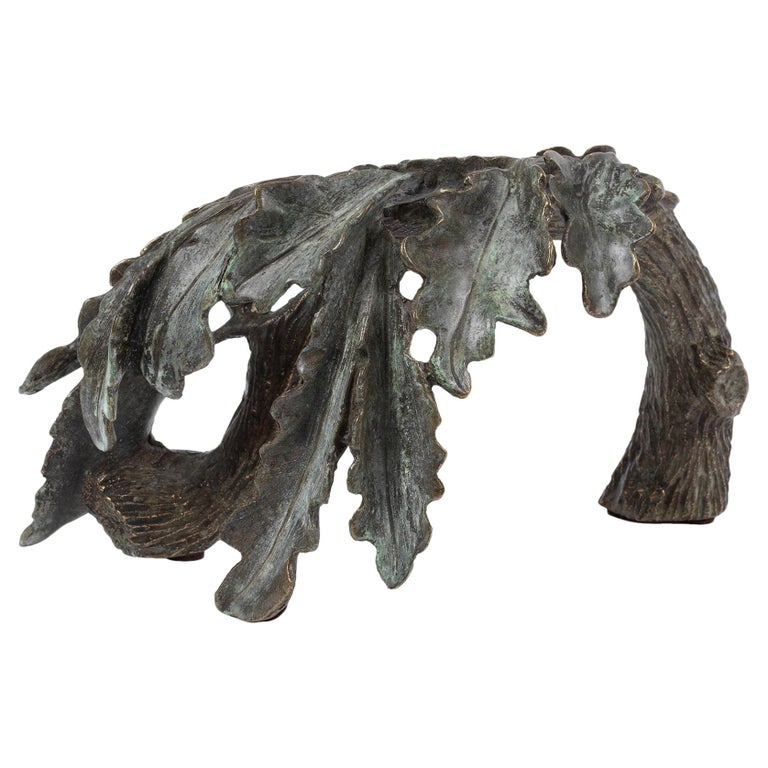 Oak Leaves, Small Scale Cast Bronze Botanical Decorative Sculpture Green Patina For Sale