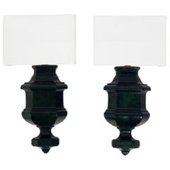 Pair of Faux Green Marble Sconces
