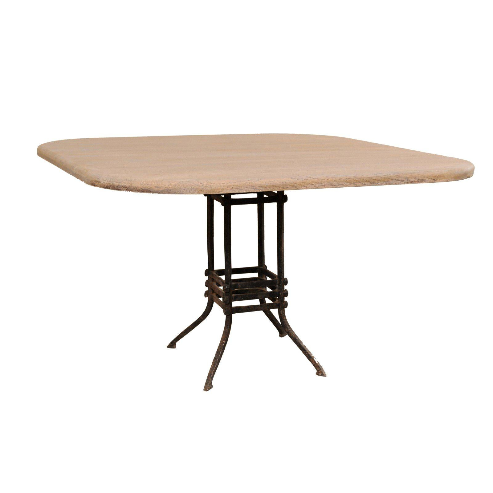 French Square-Top Wood Table Top with 19th Century Iron Base