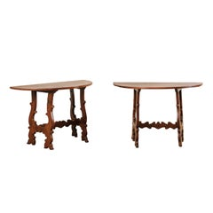 Pair of Antique Italian Walnut Wood Lyre-Leg Demi-Lune Console Tables