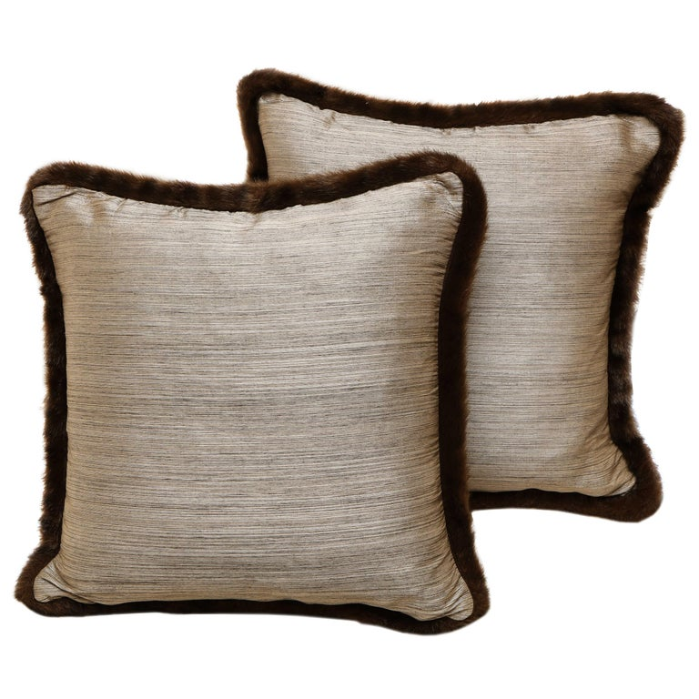 Pair of Silver and Bronze Silk and Fur Anglo-Japanese Pillow For Sale