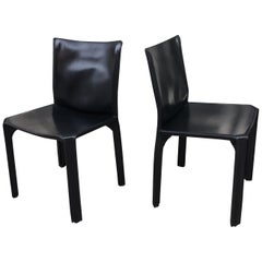 """Pair of Black Leather """"Cab"""" Chairs by Mario Bellini for Cassina"""