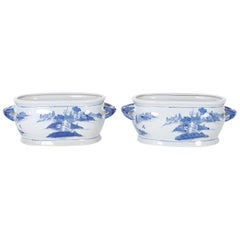 Pair of Chinese Blue and White Porcelain Planters