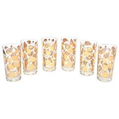 Set of 6 Mid-Century Modern Signed Georges Briard Glass Gold Highballs/ Barware