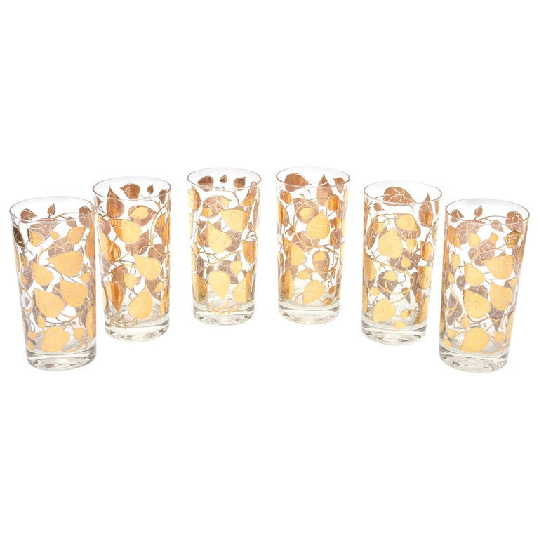 Set of 6 Mid-Century Modern Signed Georges Briard Glass Gold Highballs/ Barware For Sale