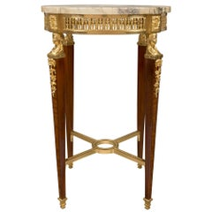 French 19th Century Louis XVI Style Ormolu and Tulipwood Side Table