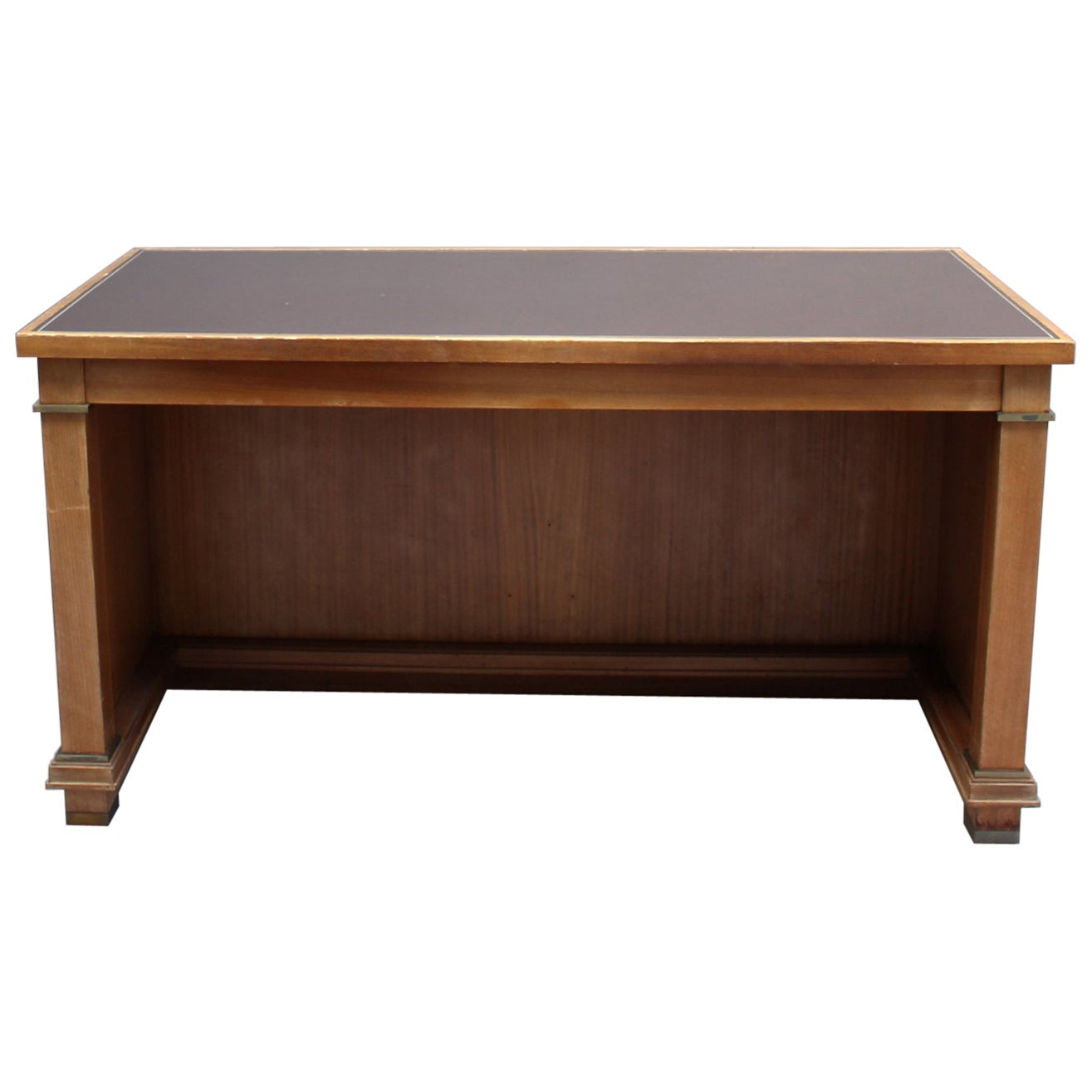 Fine French 1950's Rectangular Mahogany Desk by Jacques Adnet (2 available)