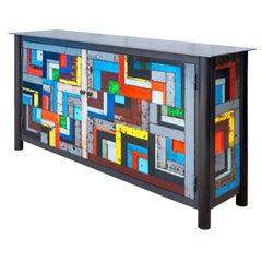 Two Door Housetop Quilt Cupboard - Functional Art Steel Furniture, Gee's Bend