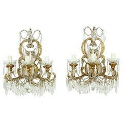 Pair of 1920's Italian Crystal Beaded Sconces