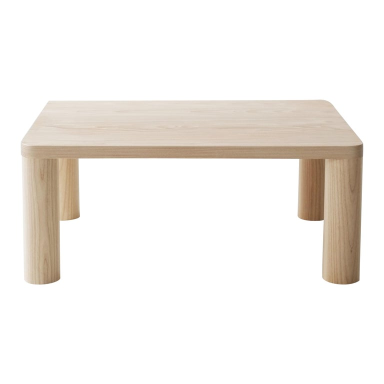 Contemporary Corner Leg Wood Column Coffee Table in White Oak by Fort Standard For Sale