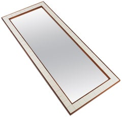 Danish Modern White Tile and Rosewood Wall Mirror