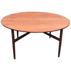 Round Drop-Leaf Teak Dining Table in the Style of Hans Wegner, Denmark, 1960's