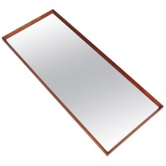 Danish Modern Long Beveled Edge Teak Wall Mirror