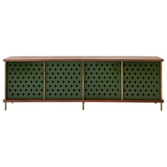 Contemporary 4 Door Strata Credenza. Walnut, Brass, Green Doors by Fort Standard