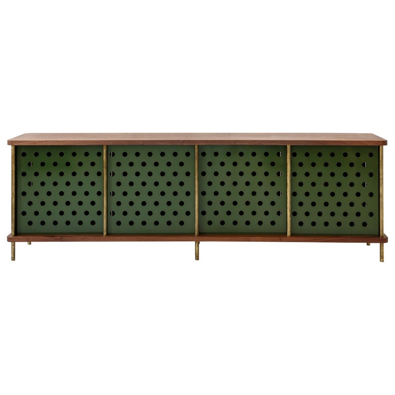 Contemporary 4 Door Strata Credenza. Walnut, Brass, Green Doors by Fort Standard For Sale