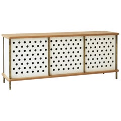 Contemporary 3 Door Strata Credenza in White Oak Wood and Brass by Fort Standard