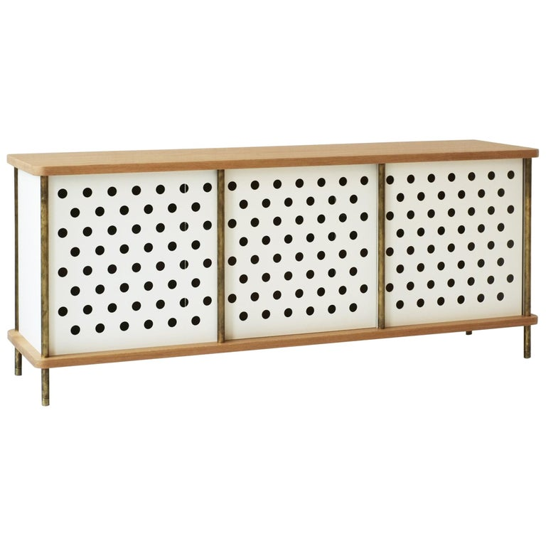 Contemporary 3 Door Strata Credenza in Walnut wood and Brass by Fort Standard For Sale