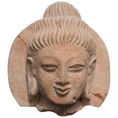Terracotta Gandhara Buddha Head, 3rd-4th Century