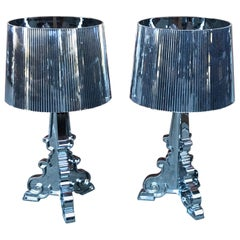 Pair of Silver Table Lamps by Ferruccio Laviani for Kartell, Late 20th Century
