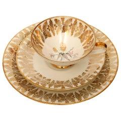 Gold Porcelain Breakfast Set, Bavaria, Germany, Mid-Century Modern, 1950s