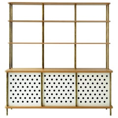 3 Door Strata Credenza with Top Shelves in White Oak, Brass by Fort Standard