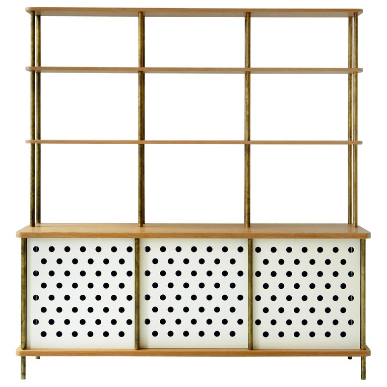 3 Door Strata Credenza with Top Shelves in White Oak, Brass by Fort Standard For Sale
