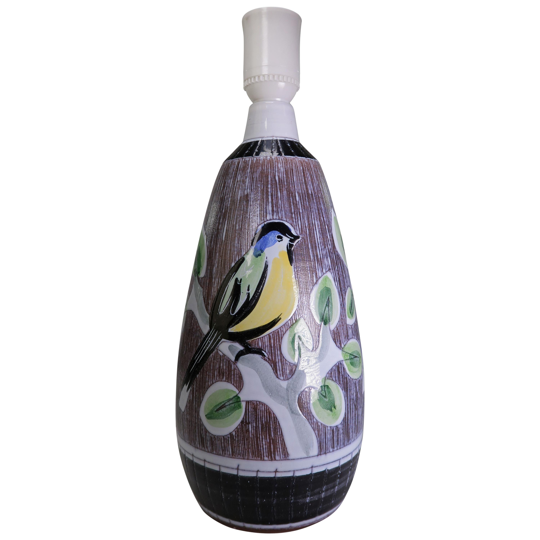 Swedish Colorful Ceramic Midcentury Lamp with Birds by Tilgmans Keramik, 1960s