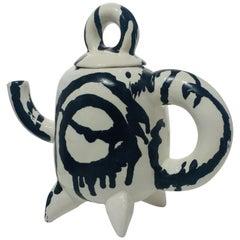 Ceramic Black Brushstroke Teapot