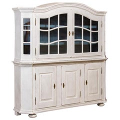 Large Antique Danish White Painted Glass Cabinet