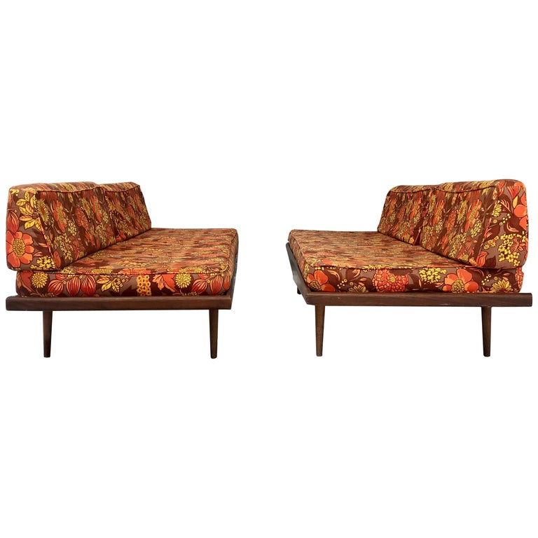 Matched Pair of Modernist Daybeds Designed by Adrian Pearsall For Sale