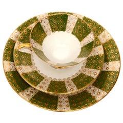 Green Porcelain Breakfast Set, Bavaria, Germany, Mid-Century Modern, 1950s