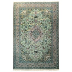 Vintage Persian Hand Knotted Medallion Floral Green Tabriz Rug, Late 1960
