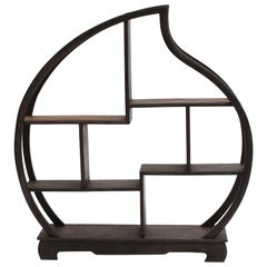 Small Wenge Wood Display Stand, Mini Shelf, Peach Shape